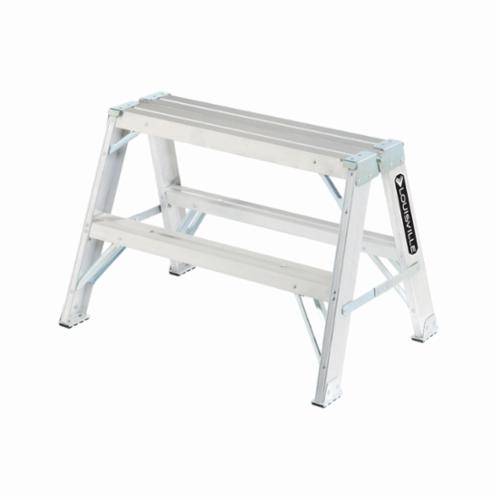Louisville® L-2032-02 Type IA Sawhorse Step Ladder, 2 ft H, 300 lb Load, 2 Steps, 25 in Top Step, Aluminum
