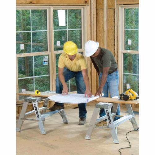 Louisville® L-2032-03 Type IA Sawhorse Step Ladder, 3 ft H, 300 lb Load, 2 Steps, 37 in Top Step, Aluminum