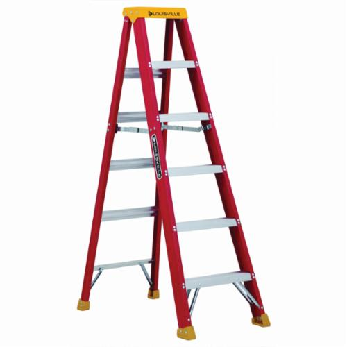 Louisville® L-3016-06 Type IA Non-Conductive Weather Resistant Step Ladder, 6 ft H Ladder, 300 lb Load, 5 Steps, Fiberglass, A14.5