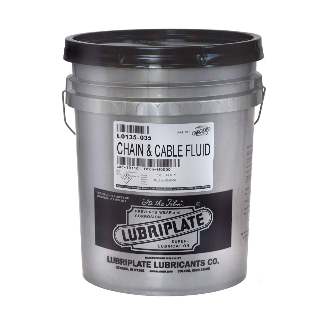 Lubriplate® L0135-035 Industrial Strength Penetrating Chain and Cable Lubricant, 35 lb Pail, Liquid Form, Amber, 0.93
