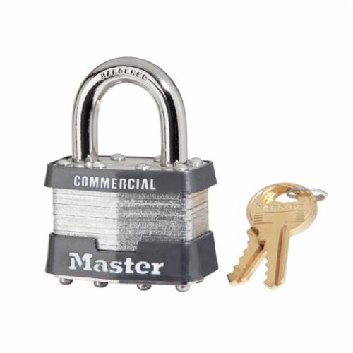 Master Lock® 1 Non-Rekeyable Safety Padlock, Different Key, Laminated Steel Body, 5/16 in Dia Shackle, 4-Pin Tumbler Locking Mechanism