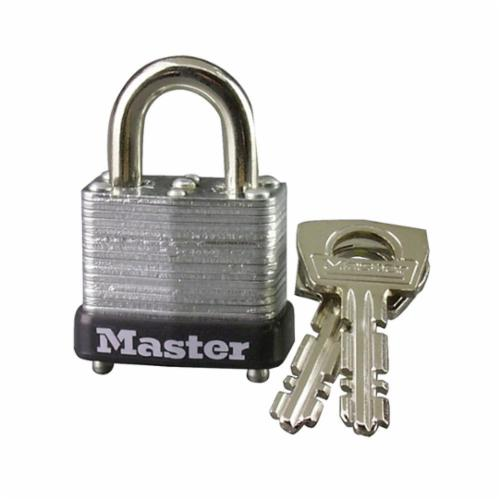 Master Lock® 10D Warded Safety Padlock, Different Key, Laminated Steel Body, 5/32 in Dia Shackle, Warded Locking Mechanism