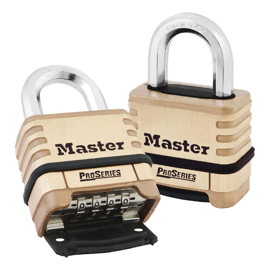 Master Lock® 1175 ProSeries® Resettable Safety Padlock, 3/8 in Shackle, Solid Brass Body, Brass, Deadbolt Locking Locking