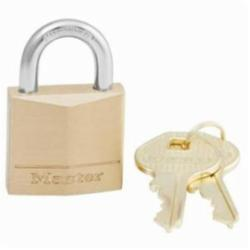 Master Lock® 130D Safety Padlock, Different Key, Solid Brass Body, 3/16 in Dia Shackle, 4-Pin Cylindrical Locking Mechanism