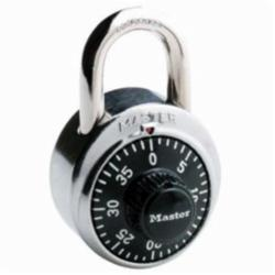 Master Lock® 1500D Combination Safety Padlock, 9/32 in Shackle, Metal/Stainless Steel Body, Black, 3-Digit Dialing Locking