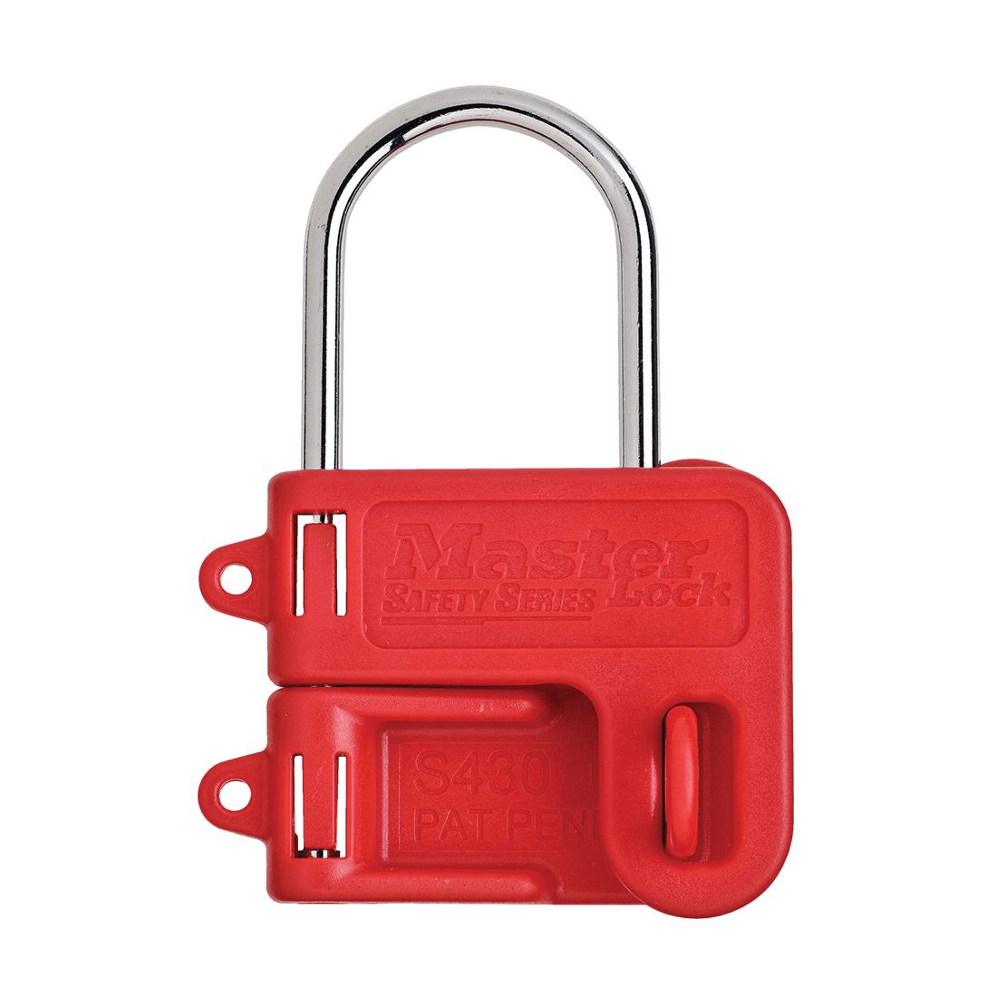 Master Lock® S430 Lockout Hasp With Red Plastic Handle, 8 Padlocks, 9/32 in Dia Max Padlock Shackle, Plastic/Steel