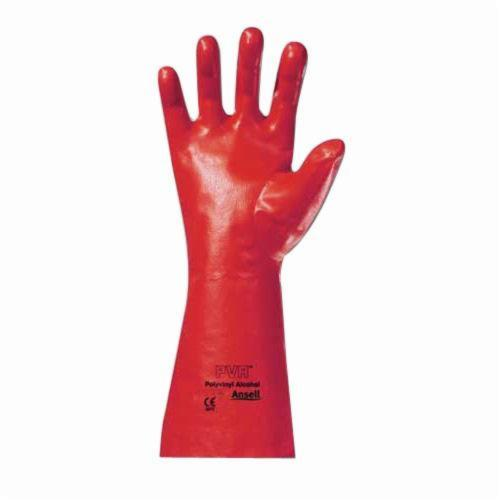 Ansell 214308 15-554 Fully Coated Chemical Resistant Gloves, SZ 10, Polyester Vinyl Alcohol, Red, Knit Wrist Lining, 14 in L, Resists: Abrasion, Cut, Chemical, Puncture and Snag, Gauntlet Cuff