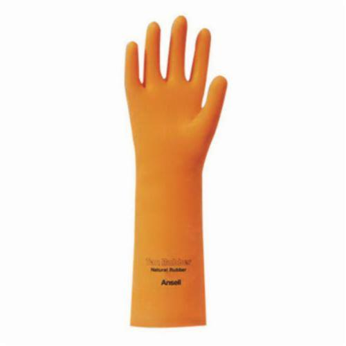 Ansell 115605 26-665 Heavy Duty Chemical Resistant Gloves, SZ 9.5, Natural Rubber Latex, Orange, Flock Lined Lining, 13 in L, Resists: Abrasion and Chemical, Unsupported Support, Straight Cuff, 18 mil THK