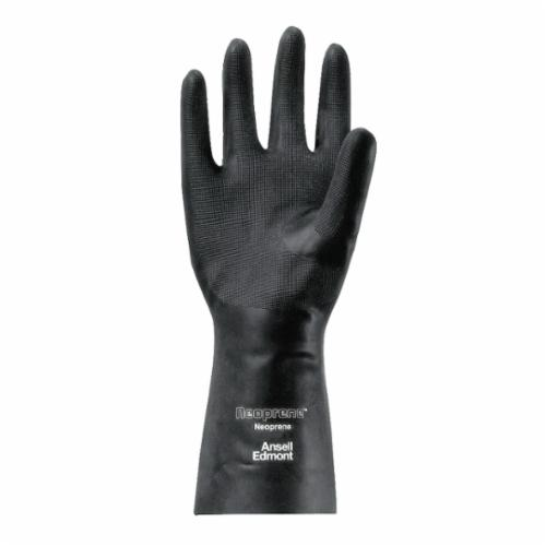Ansell 116314 29-865 Chemical Resistant Gloves, SZ 10, Neoprene, Black, Flock Lining, 13 in L, Resists: Acid, Caustic, Oil and Solvent, Unsupported Support, Straight Cuff, 18 mil THK