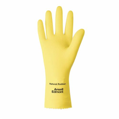 Ansell FL100 185749 87-198 FL 100s Chemical Resistant Gloves, SZ 7, Natural Rubber Latex, Lemon Yellow, Flock Lining, 12 in L, Resists: Abrasion, Cut, Chemical, Puncture and Snag, Unsupported Support, Pinked Cuff, 17 mil THK