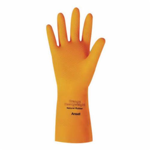 Ansell 192085 87-208 Heavy Duty Chemical-Resistant Gloves, SZ 9, Natural Rubber Latex, Citrus Orange, Flock Lining, 13 in L, Resists: Acid, Alkalis, Ketone and Salt, Unsupported Support, Pinked Cuff, 29 mil THK