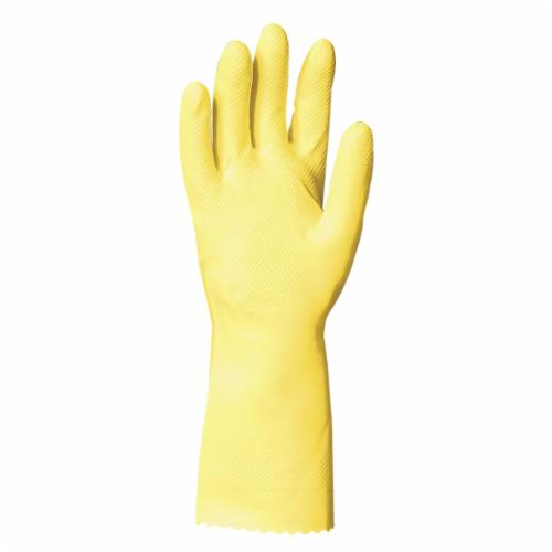 Ansell 192983 87-298 FL 200s Medium Duty Chemical-Resistant Gloves, SZ 8, Natural Rubber Latex, Lemon Yellow, Flock Lining, 12 in L, Resists: Abrasion, Alcohol, Acid, Alkalis, Chemical, Ketone, Puncture, Salt and Snag, Unsupported Support, Pinked Cuff