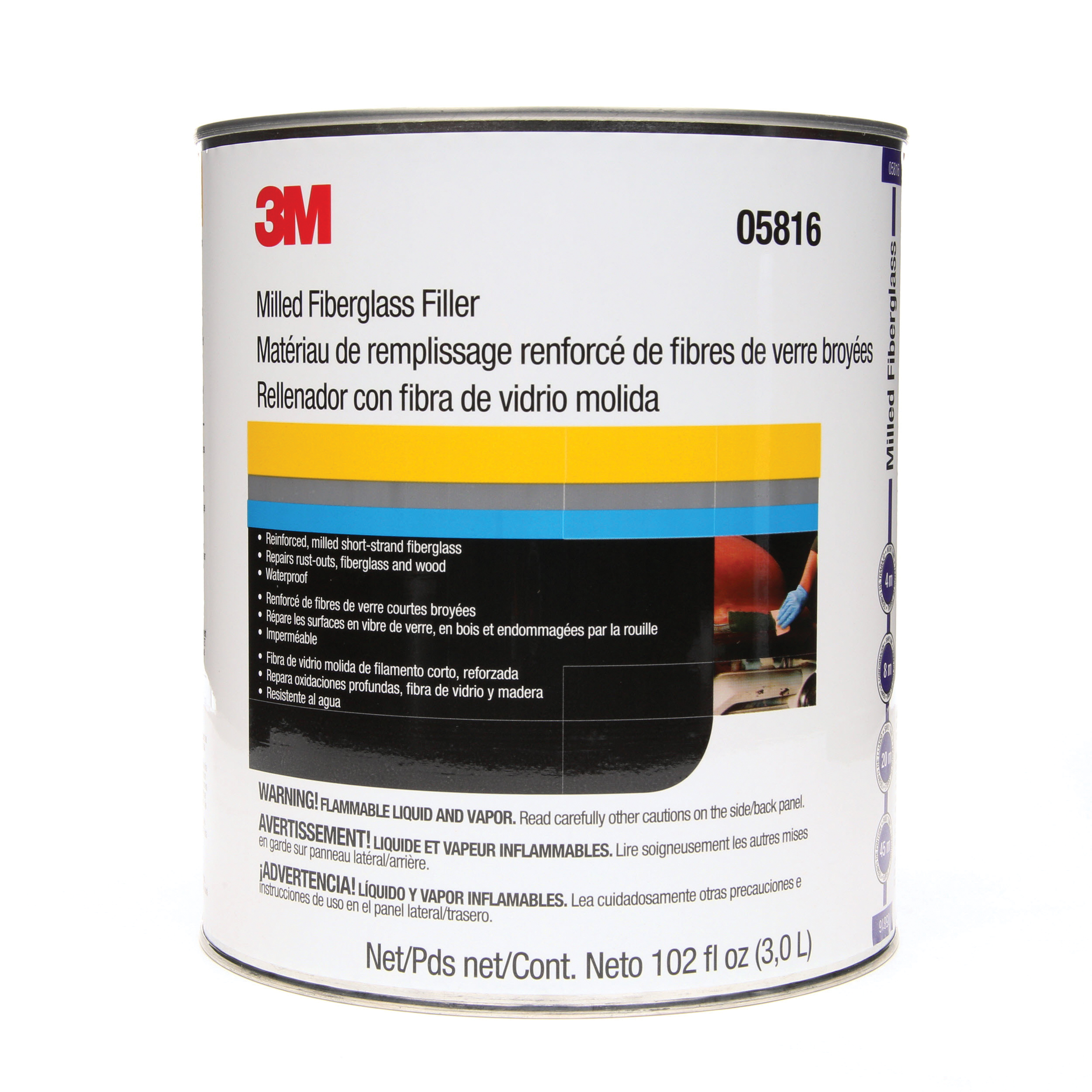 3M™ Marson® 051131-05816 Mar-Glass® 2-Component 2-Part Short Strand Fiberglass Reinforced Filler, 1 gal Container, Part A: Viscous/Part B: Paste Form, Part A: Green/Part B: Red