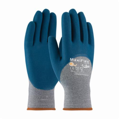 ATG® MaxiFlex® Comfort™ 34-9025/XS General Purpose Gloves, Coated, XS, Microfoam Nitrile Palm, Nylon, Blue/Gray, Knit Wrist Cuff, Microfoam Nitrile Coating, Resists: Abrasion, Cut, Puncture and Tear, Cotton/Lycra® Lining, Seamless Knit