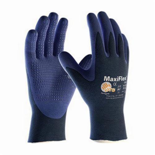 ATG® MaxiFlex® Elite™ 34-244 Ultra Lightweight General Purpose Gloves, Coated, Microfoam Nitrile Palm, Nylon, Blue, Continuous Knit Wrist Cuff, Microfoam Nitrile Coating, Resists: Abrasion, Cut, Puncture and Tear, Nylon Lining, Seamless Knit