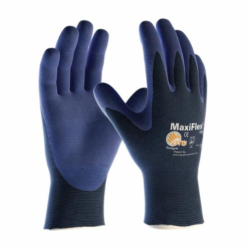 ATG® MaxiFlex® Elite™ 34-274 Ultra Lightweight General Purpose Gloves, Coated, Microfoam Nitrile Palm, Nylon, Blue, Continuous Knit Wrist Cuff, Microfoam Nitrile Coating, Resists: Abrasion, Cut, Puncture and Tear, Nylon Lining, Seamless Knit