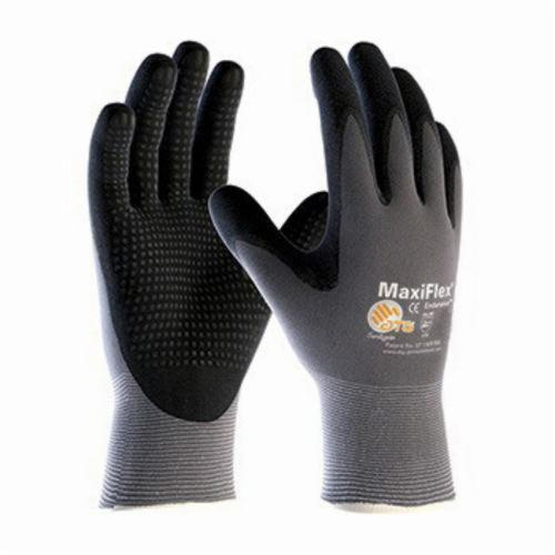 ATG® MaxiFlex® Endurance™ 34-844 General Purpose Gloves, Coated, Microfoam Nitrile Palm, Nylon, Black/Gray, Continuous Knit Wrist Cuff, Microfoam Nitrile Coating, Resists: Abrasion, Cut, Puncture and Tear, Nylon Lining, Seamless Knit