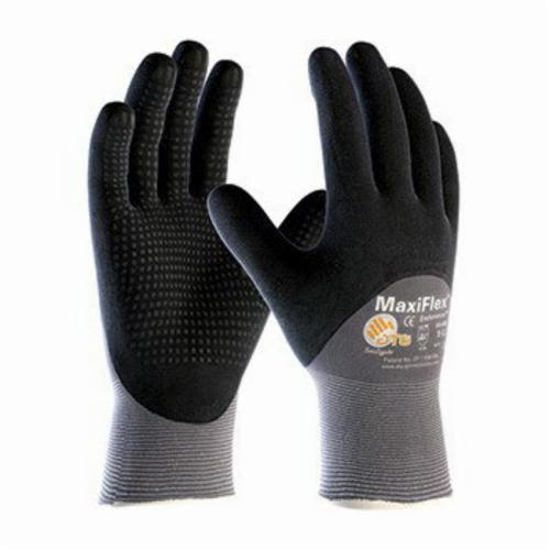 ATG® MaxiFlex® Endurance™ 34-845 General Purpose Gloves, Coated, Microfoam Nitrile Palm, 15 ga Nylon, Black/Gray, Continuous Knit Wrist Cuff, Microfoam Nitrile Coating, Resists: Abrasion, Cut, Puncture and Tear, Nylon Lining, Seamless Knit