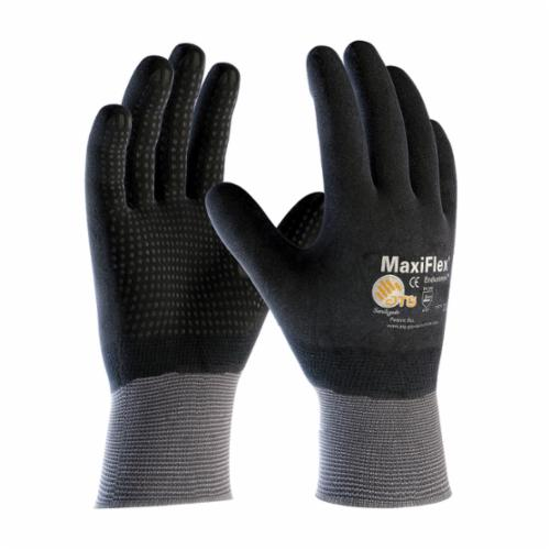 ATG® MaxiFlex® Endurance™ 34-846 General Purpose Gloves, Coated, Microfoam Nitrile Palm, 15 ga Nylon, Black/Gray, Continuous Knit Wrist Cuff, Microfoam Nitrile Coating, Resists: Abrasion, Cut, Puncture and Tear, Nylon Lining, Seamless Knit