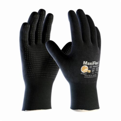 ATG® MaxiFlex® Endurance™ 34-8745 General Purpose Gloves, Coated, Microfoam Nitrile Palm, 15 ga Nylon, Black, Knit Wrist Cuff, Microfoam Nitrile Coating, Resists: Abrasion, Cut, Puncture and Tear, Nylonycra® Lining, Seamless Knit