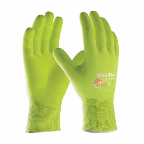 ATG® MaxiFlex® Ultimate™ 34-874FY General Purpose Gloves, Coated, Microfoam Nitrile Palm, Nylon, Hi-Viz Yellow, Continuous Knit Wrist Cuff, Microfoam Nitrile Coating, Resists: Abrasion, Cut, Puncture and Tear, Nylonycra® Lining