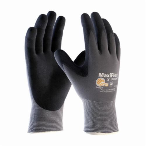 ATG® MaxiFlex® Ultimate™ 34-874 General Purpose Gloves, Coated, Microfoam Nitrile Palm, 15 ga Nylon, Black/Gray, Continuous Knit Wrist Cuff, Microfoam Nitrile Coating, Resists: Abrasion, Cut, Puncture and Tear, Nylon/Lycra® Lining, Seamless Knit