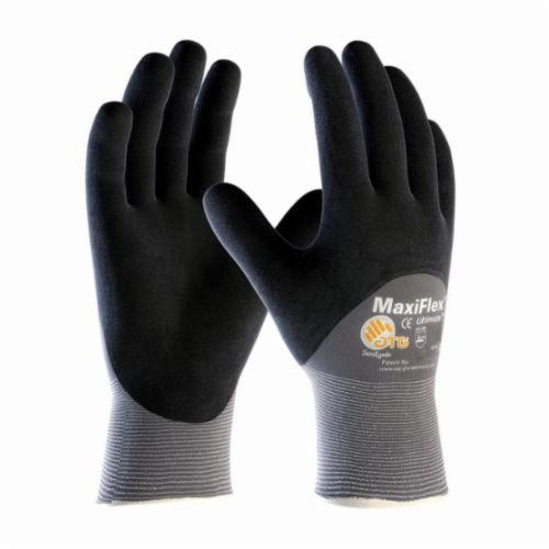 ATG® MaxiFlex® Ultimate™ 34-875 General Purpose Gloves, Coated, Microfoam Nitrile Palm, Nylon, Black/Gray, Continuous Knit Wrist Cuff, Microfoam Nitrile Coating, Resists: Abrasion, Cut, Puncture and Tear, Nylon Lining, Seamless Knit
