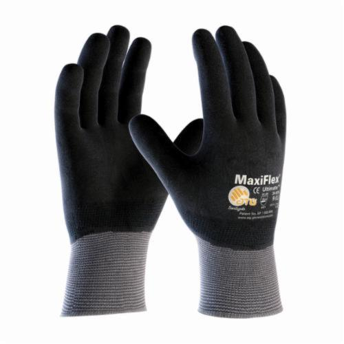 ATG® MaxiFlex® Ultimate™ 34-876 General Purpose Gloves, Coated, Microfoam Nitrile Palm, 15 ga Nylon, Black/Gray, Continuous Knit Wrist Cuff, Microfoam Nitrile Coating, Resists: Abrasion, Cut, Puncture and Tear, Nylon Lining, Seamless Knit
