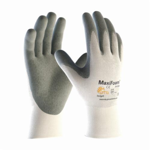 ATG® MaxiFoam® 34-800 Premium General Purpose Gloves, Coated, Microfoam Nitrile Palm, 15 ga Nylon, Gray/White, Continuous Knit Wrist Cuff, Microfoam Nitrile Coating, Resists: Abrasion, Cut, Puncture and Tear, Nylon Lining, Seamless Knit