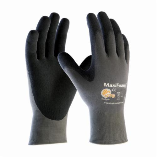 ATG® MaxiFoam® Lite 34-900 General Purpose Gloves, Coated, Microfoam Nitrile Palm, Nylon, Dark Gray/Graphite, Continuous Knit Wrist Cuff, Microfoam Nitrile Coating, Resists: Abrasion, Cut, Puncture and Tear, Nylon Lining, Seamless Knit