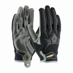 PIP® Brickyard™ 120-4900 High Performance General Purpose Gloves, Mechanics, Synthetic Leather Palm, Lycra®/Nylon/Polyurethane/Spandex®/Synthetic Leather, Black/Gray, Knit Wrist Cuff, Silicone Coating, Resists: Abrasion, Cut, Puncture and Tear