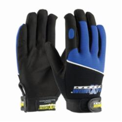 PIP® 120-MX2830 High Performance Professional General Purpose Gloves, Mechanics, Synthetic Leather Palm, Cottoneather/Polyester/PVC, Black/Blue, Hook and Loop Wrist Cuff, Resists: Abrasion, Cold, Cut and Heat, Unlined Lining