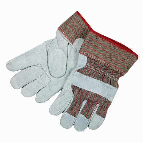 Memphis 1205L Industrial Grade General Purpose Gloves, Leather Palm, Gunn Pattern/Standard Finger/Wing Thumb Style, L, Cowhide Leather Palm, Cotton Thread/Leather/Polyester, Gray, Safety Rubberized Cuff, Resists: Abrasion, Cut, Puncture and Tear