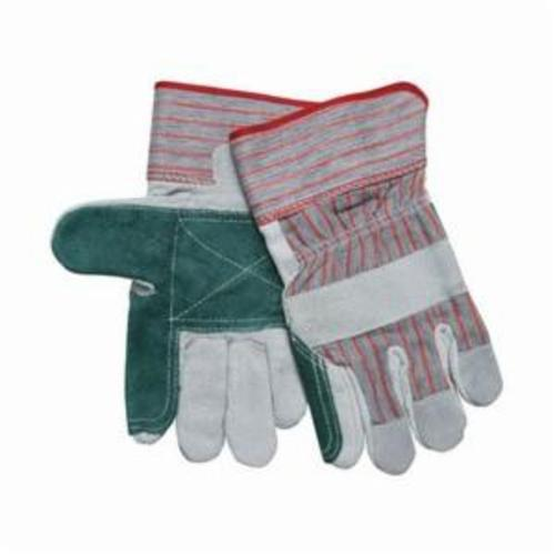 Memphis 1211 Double Palm Industrial Grade General Purpose Gloves, Leather Palm, Cowhide Leather Palm, Cowhide Leather, Gray, Rubberized Safety Cuff, Uncoated Coating, Resists: Abrasion, Fleece Lining, Gunn Pattern/Standard Finger/Wing Thumb