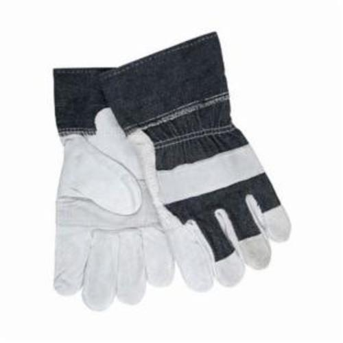 Memphis 1220DX Economy Grade General Purpose Gloves, Leather Palm, Gunn Pattern/Standard Finger/Wing Thumb Style, L, Cowhide Leather Palm, Cowhide Leather, Blue/Gray, Safety Cuff, Uncoated Coating, Fleece Lining