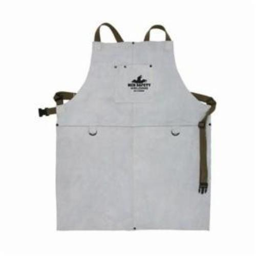 Memphis 38130MW Bib Apron With Front Pocket, 30 in L x 24 in W, Split Cow Leather with Kevlar® Stitch, Gray