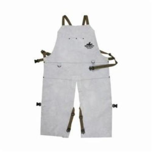 Memphis 38242MW Bib Apron With Split Leg and Front Pocket, 42 in L x 24 in W, Split Cow Leather with Kevlar® Stitch, Gray