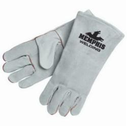 Memphis 4150LH-XL Premium Grade Welding Gloves, XL, Cow Skin Leather/Polyester/Cotton Thread, Gray, Cotton Drill/Fleece Black Lining, Gauntlet/Rolled Cuff, 13.6 in L, 1.1 to 1.6 mm THK Glove Material