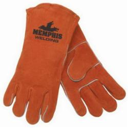 Memphis 4300-XL Premium Grade MIG/TIG Welding Gloves, XL, Cow Skin Leather, Russet, Cotton Drill/Fleece Lining, Gauntlet Cuff, 13.68 in L, 1.1 to 1.6 mm THK Glove Material