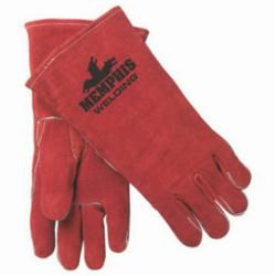 Memphis 4320L Premium Grade MIG/TIG Welding Gloves, L, Split Select Shoulder Cow Skin Leather, Russet, Fleece Lining, Gauntlet Cuff, 13.62 in L, 1.1 to 1.6 mm THK Glove Material