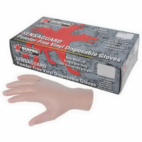 MCR Safety 5015 SensaGuard™ Nonterile Disposable Gloves, Vinyl, Clear, 10.197 in L, Powder Free, Smooth, 5 mil THK, Application Type: Food/Industrial/Premium Grade, Ambidextrous Hand