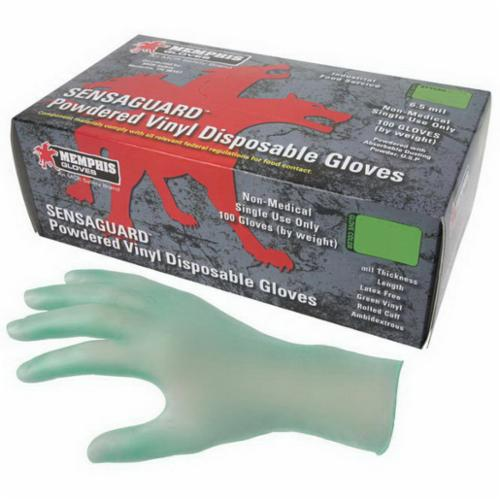 MCR Safety 5025 SensaGuard™ Nonterile Disposable Gloves, Vinyl, Green, 9.724 in L, Powdered, Smooth, 6.5 mil THK, Application Type: Food/Industrial/Premium Grade, Ambidextrous Hand