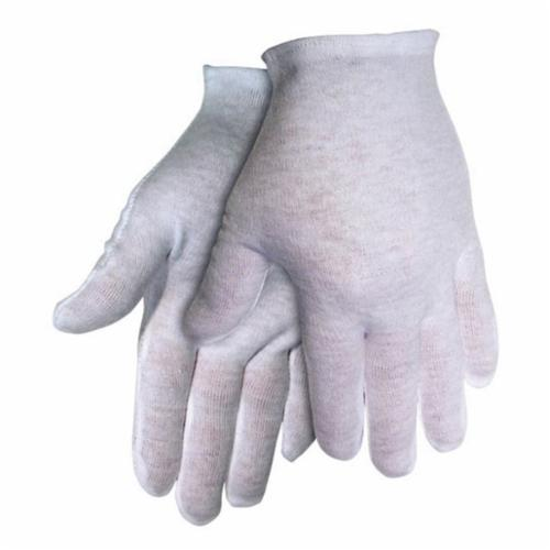 Memphis 8621C Mediumweight Ladies Reversible Inspectors Gloves, S, Cotton, White, Straight Thumb Style, Paired Hand, 8-1/2 in L