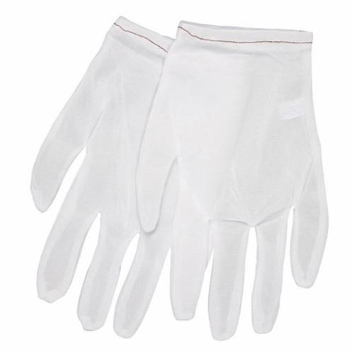 Memphis 8700M Lightweight Low-Lint Men's Reversible Inspectors Gloves, M, Nylon, White, Straight Thumb Style, Paired Hand, 9 in L
