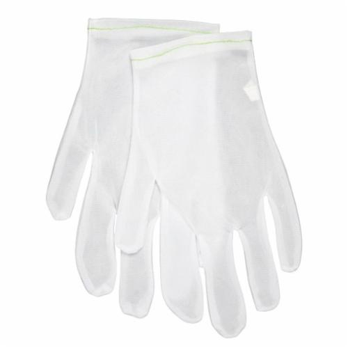 Memphis 8710L Lightweight Ladies Low-Lint Reversible Inspectors Gloves, L, Nylon, White, Straight Thumb Style, Paired Hand, 9-1/2 in L