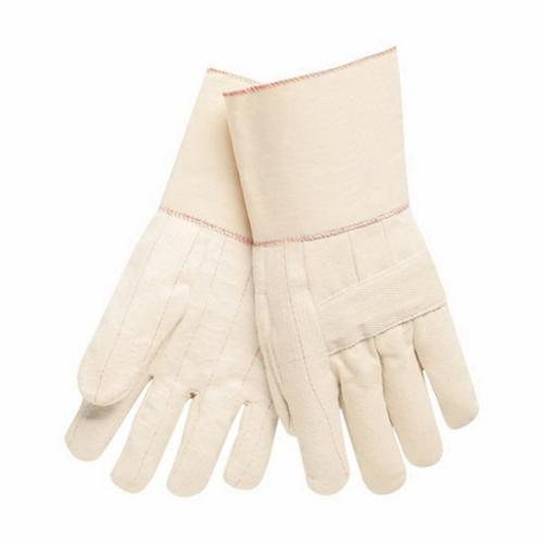 Memphis 9124G Regular Weight Hot Mill Gloves, L, Cotton, Natural, Cotton Lining, Plasticized Gauntlet Cuff, Uncoated Coating, 12-1/2 in L