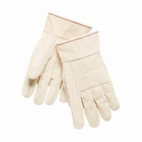Memphis 9124K Regular Weight Hot Mill Gloves, L, Cotton, Natural, Cotton Lining, Band Top Cuff, Uncoated Coating, 10-1/2 in L