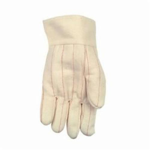 Memphis 9124KI Nap-In Regular Weight Hot Mill Gloves, L, Cotton, Natural, Cotton Lining, Band Top Cuff, Uncoated Coating, 10-1/2 in L