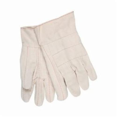 Memphis 9128 Heavyweight Men's Hot Mill Gloves, L, ANSI Heat Level: 5, Cotton, Natural, Cotton Lining, Band Top Cuff, Uncoated Coating, 10-1/2 in L, 608 deg F Max