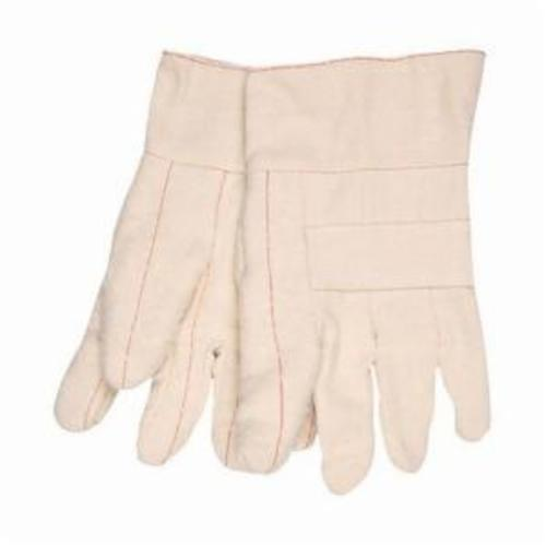 Memphis 9136K Heavyweight Premium Hot Mill Gloves, L, Cotton, Natural, Burlap Lining, Band Top Cuff, Uncoated Coating, 10.35 in L